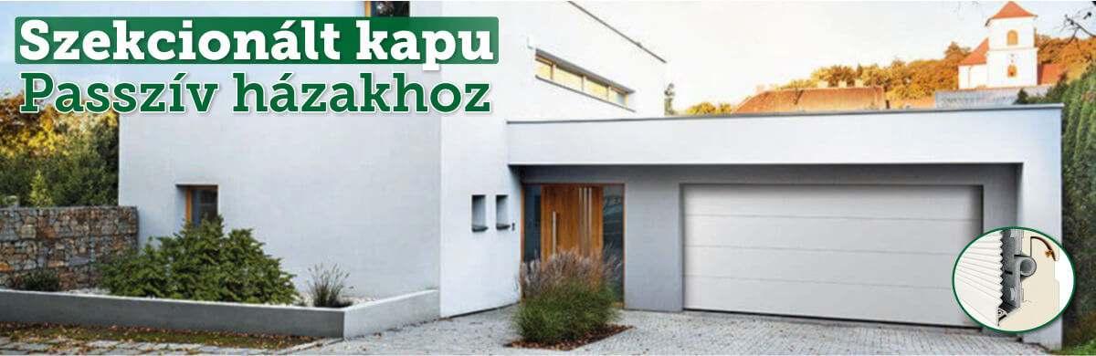 Szekcionált garázskapu - passzív házakhoz